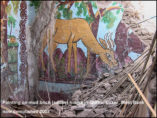 painting on mud brick house